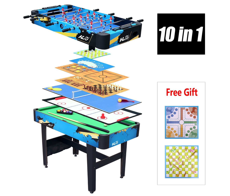 HLC-TABLE MULTI 10 en 1-Billiard/Baby-foot/Hockey/Tennis/Jeu d'échecs/Checker/Backgammon/Poker/Tic-Tac-Toe/Puzzle