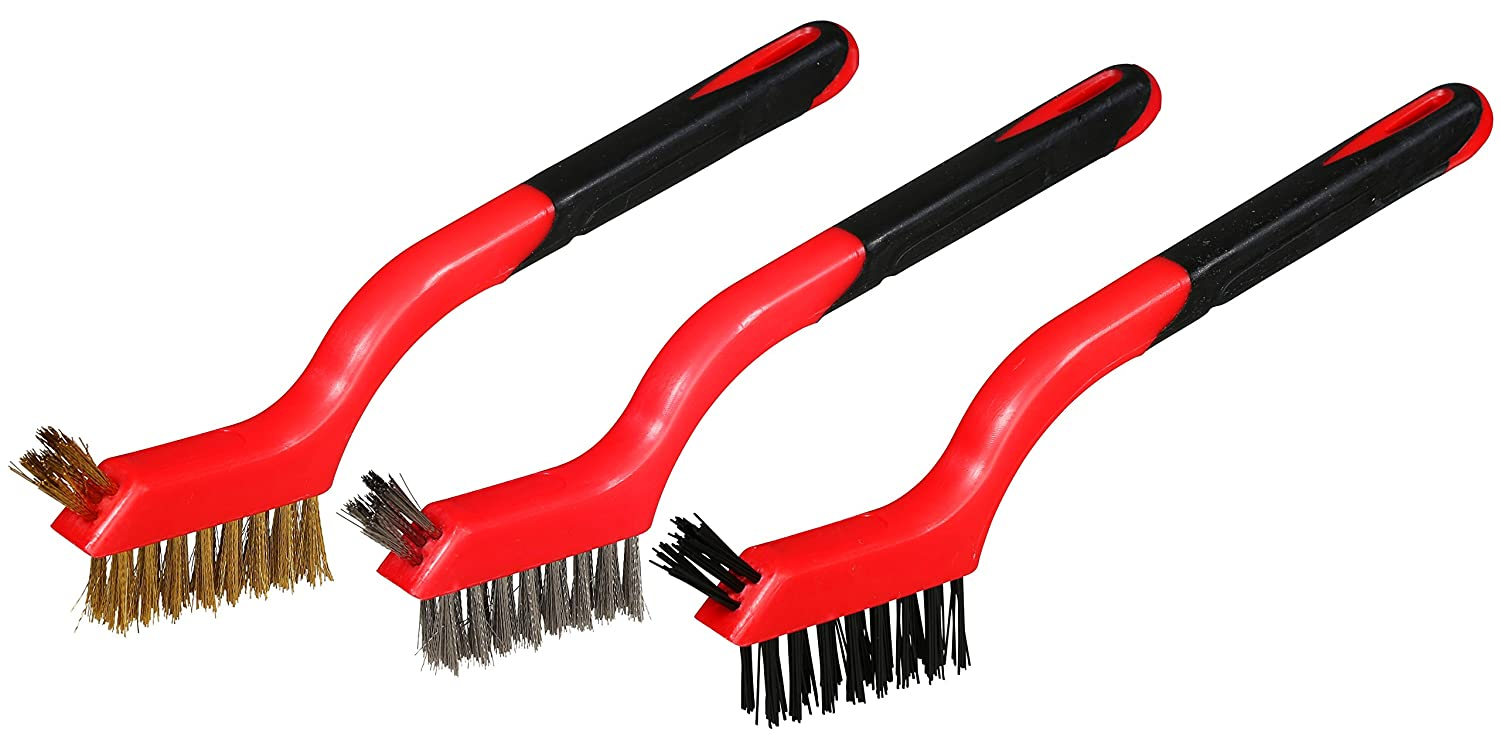 Mini Detailing Wire Brush Set, Heavy Duty, Crimped Scratch Brush, Brass, Stainless Steel, Nylon, Extra Cluster of Bristles for use in hard-to-reach areas, curved rubber handle, length 7-Inch, 3-Piece.