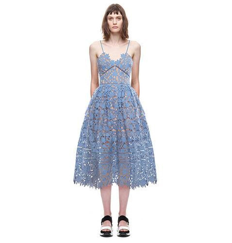 Ufirstever Damen Slim Spitzenkleid Träger Geblümt Floral Partykleid Ballkleid Kleider