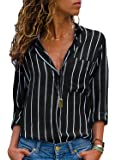 Aleumdr Womens V Neck Stripe Long Sleeve Loose Fit Button up Color Block Blouses Tops