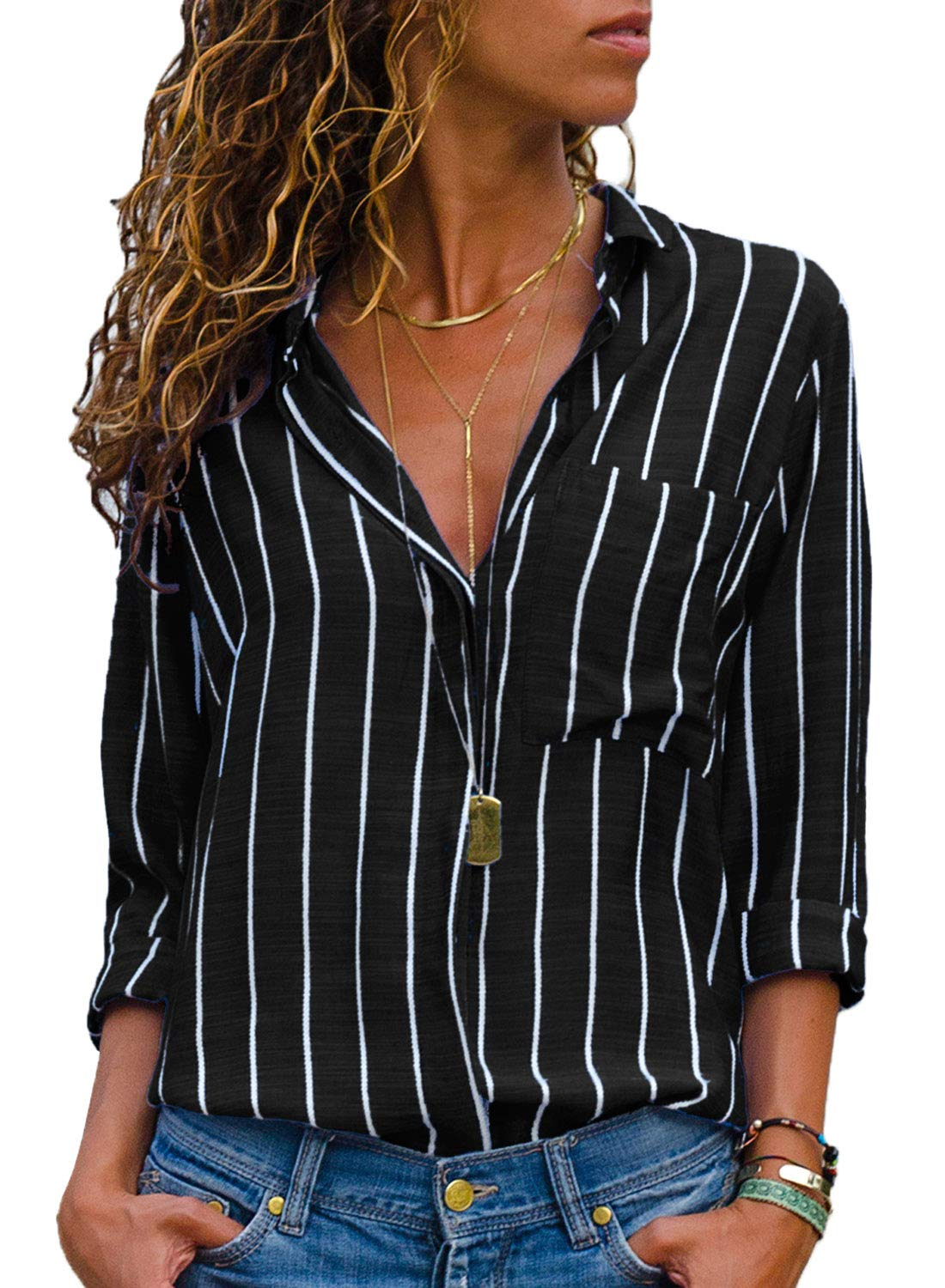 HOTAPEI Womens Plus Size Casual V Neck Striped Chiffon Work Tops and Blouses Long Sleeve Business Button up Shirts Black and White XXL by HOTAPEI
