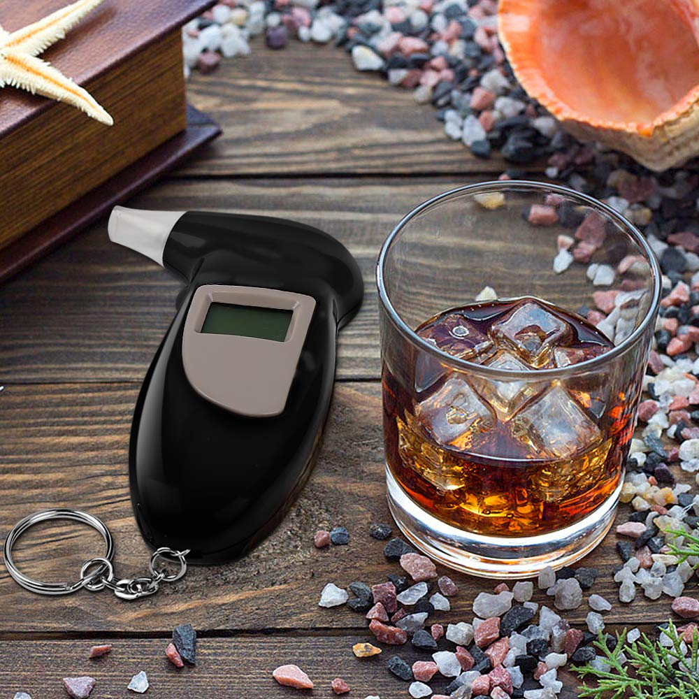 Nasharia Professioneller Akkurater Digital Atemalkoholmessger/ät Alkoholmessger/äte Atemalkohol-Tester mit LCD Display Resultate Schnell Reagierende Alkoholtester mit Halbleiter Sensor 10 Mundst/ücke