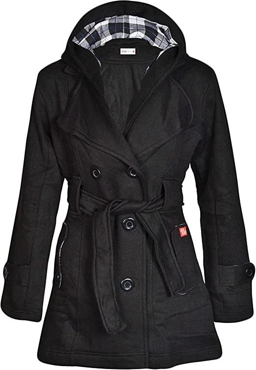 New Womens MILITARY JACKET COAT Trench Jacket Hooded Jacket Ladies Girls 8-14