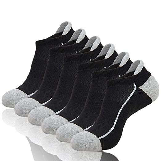 COOVAN Mens Athletic No Show Low Cut Socks Ankle Mesh Cushioned Breathable Running Tab Sock (6 Pack)