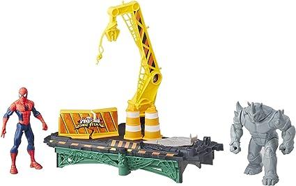 Amazon Com Marvel Spider Man Rhino Rampage Play Set Toys Games