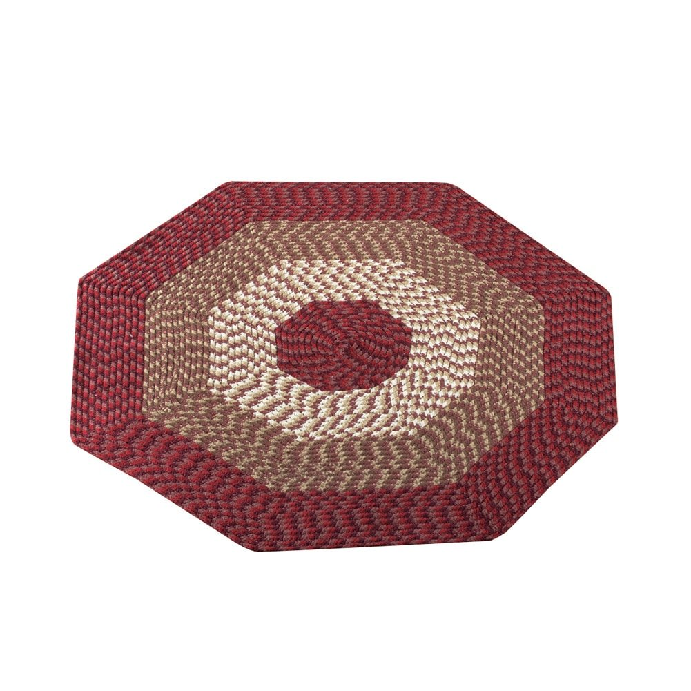 Collections Etc Alpine Braided Accent Rugs, Burgundy, 4' Octagon