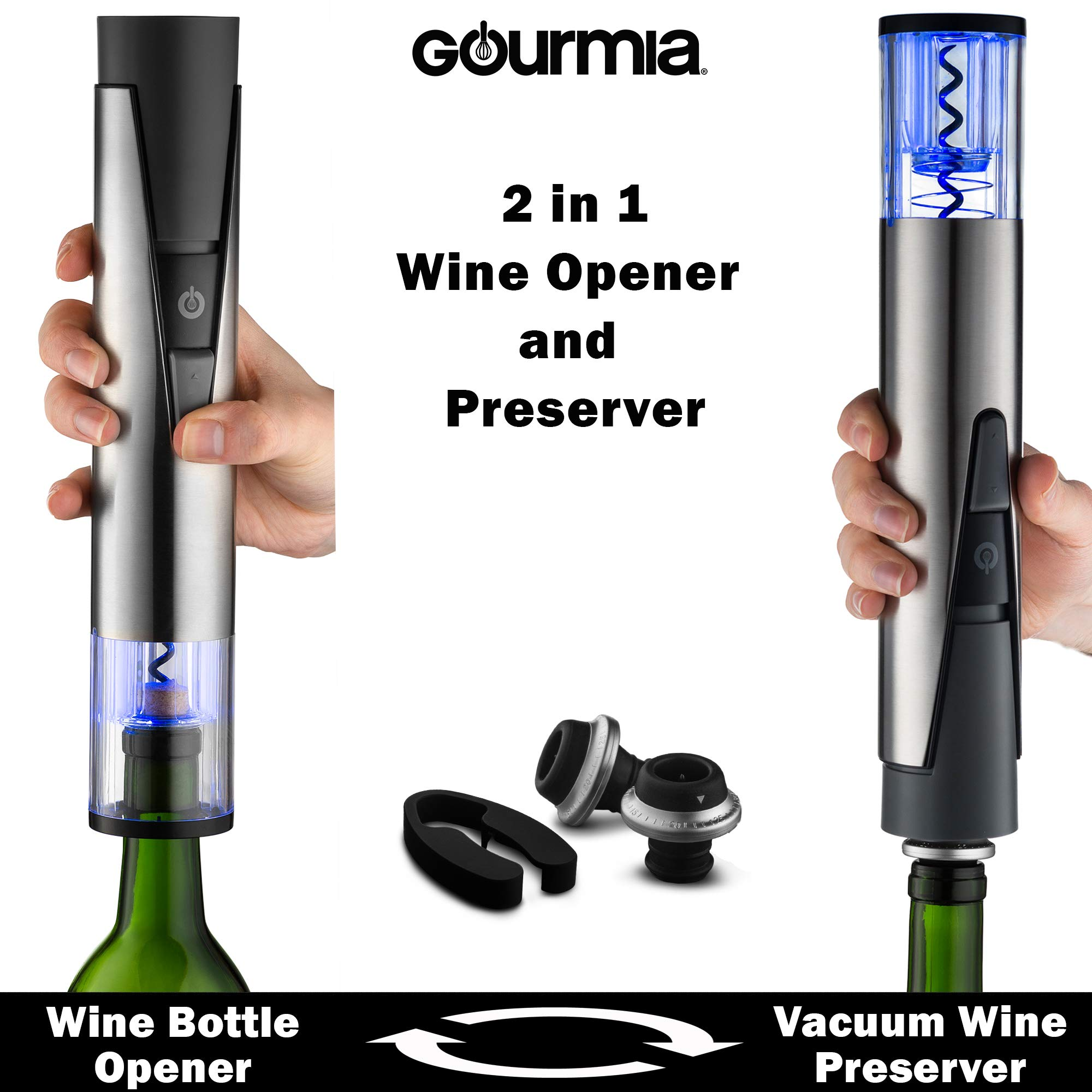 Gourmia 2 in 1 Wine Opener and Preserver set Electric Corkscrew Rechargeable Wine Bottle Opener and Sealer Removes Corks,Vacuum Seals and Preserves Wine Includes Foil Cutter,2 Stoppers,Recharging Base by Gourmia (Image #2)