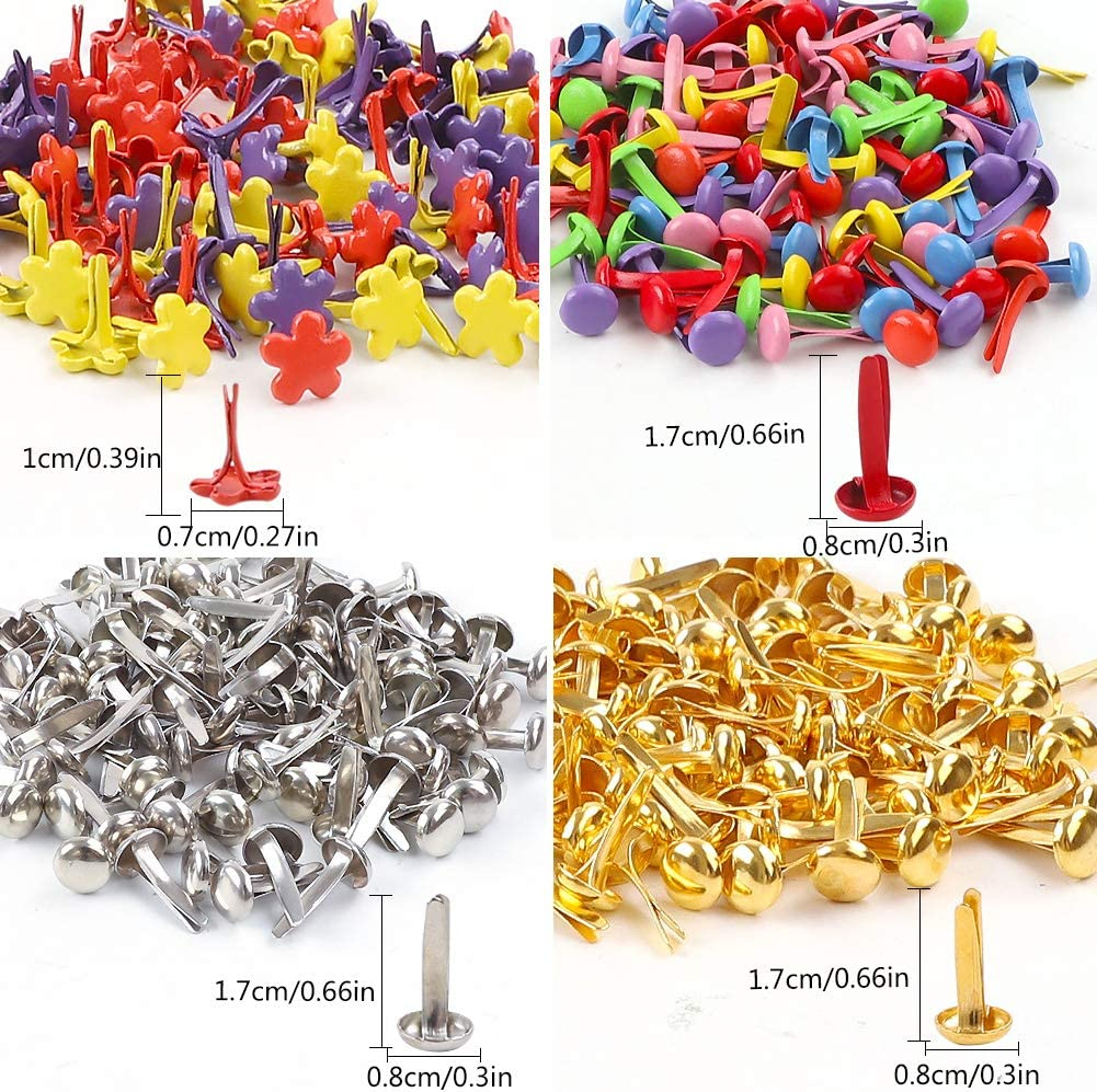 Mini Brads 400Pcs Paper Fasteners Gold Silver Round Metal Pastel Craft Brads Multi Color Small Round Paper Metal Brads Flower Scrapbooking Decorative Brads for School Office Crafts Making DIY Project