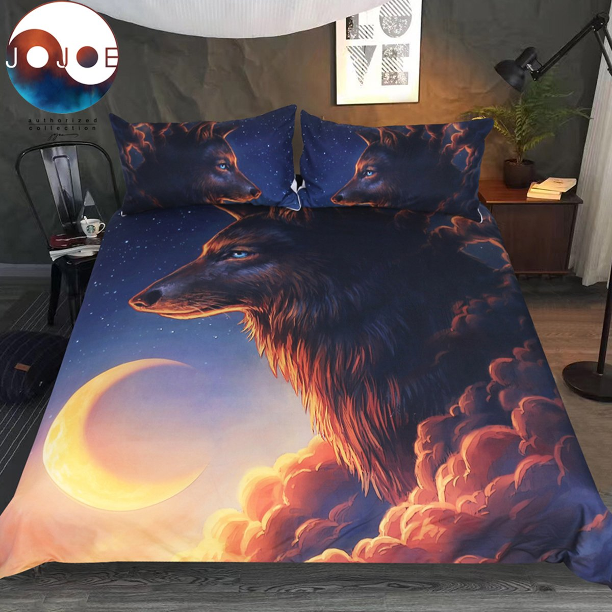 Sleepwish Night Guardian by Jojoesart Bedding Set 3 Piece Lunar Wolf Duvet Cover 3D Wolf Mountain Crescent Moon Fantasy Animal Bed Cover for Kids Adults (Twin)