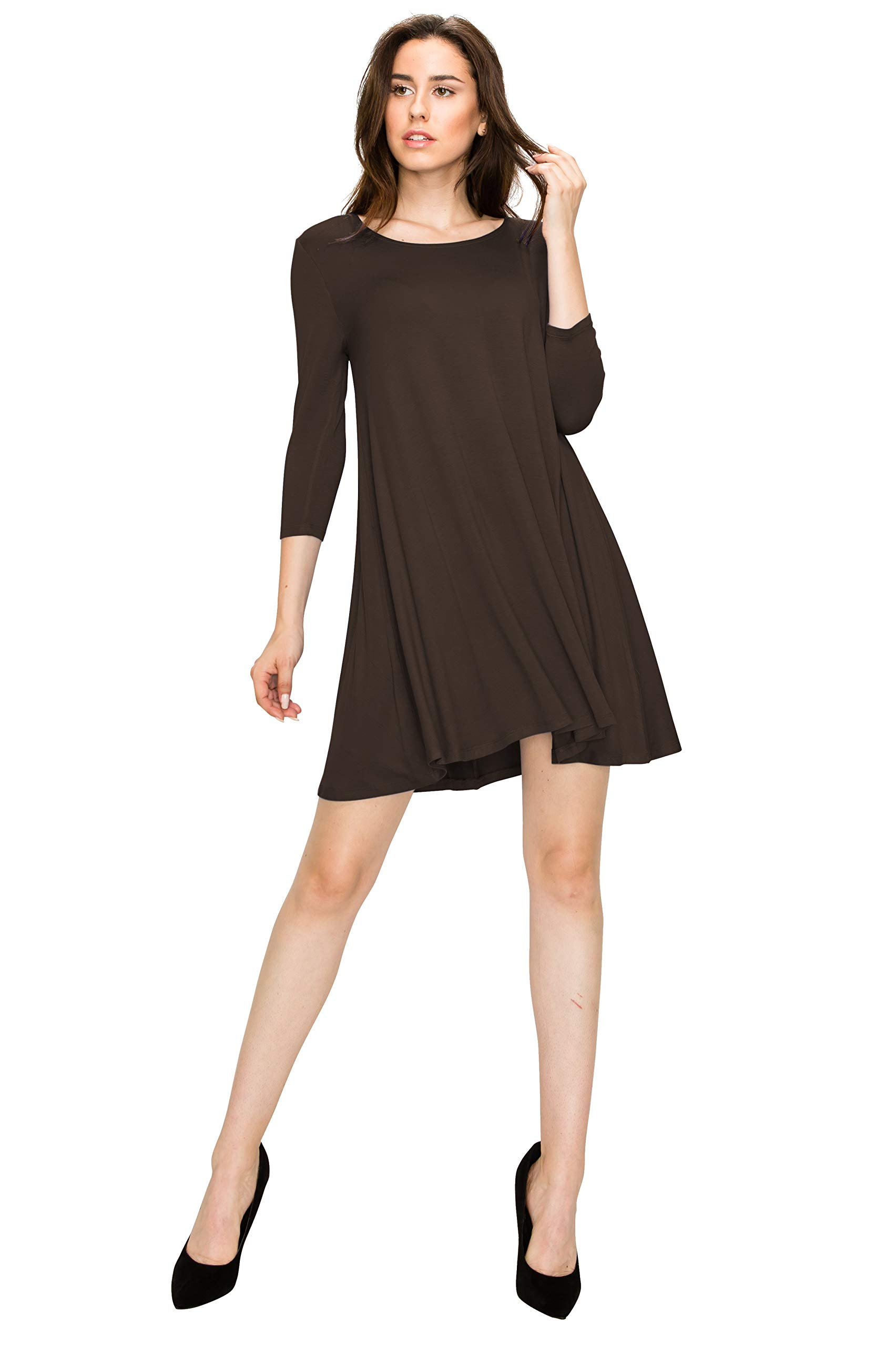 WDR930 Womens Round Neck 3/4 Sleeves Trapeze Dress With Pockets XL Brown