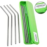 LANIAKEA Reusable Stainless Steel Drinking Straws ( 4 Straight,4 Bent Metal Dink Straw ) with Cleaning Brushes Cleaner and Portable Storage Box for Drinks, Easy to Carry, Classy, Gentle and Elegant for Travel, Dating and Party, Cocktail, Juice