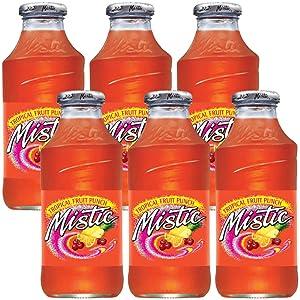 Mistic Tropical Fruit Punch Drink, 16oz Glass Bottle (Pack of 6, Total of 96 Fl Oz)