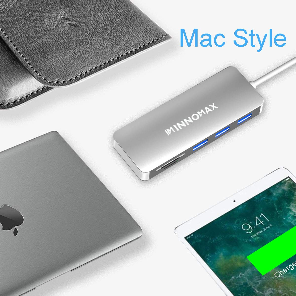 MacBook Pro USB C Adapter,Macbook Pro USB C Hub, INNOMAX MacBook USB Type C Hub(Silver) with Mini SD Card Reader, SD Card Reader, 3 USB 3.0 Ports for 2016, 2017 MacBook PRO,Chromebook Pixel, and more