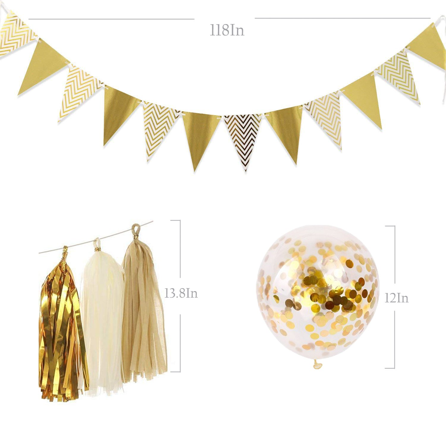 Gold Party Decorations 8 Pcs Paper Fan Flowers 20 Pcs Confetti balloons Pennant Banner 15 pcs Tissue Paper Tassels Garland Birthday Party Supplies for Wedding Baby Shower Outdoor Wall Decorations by RSMY (Image #5)