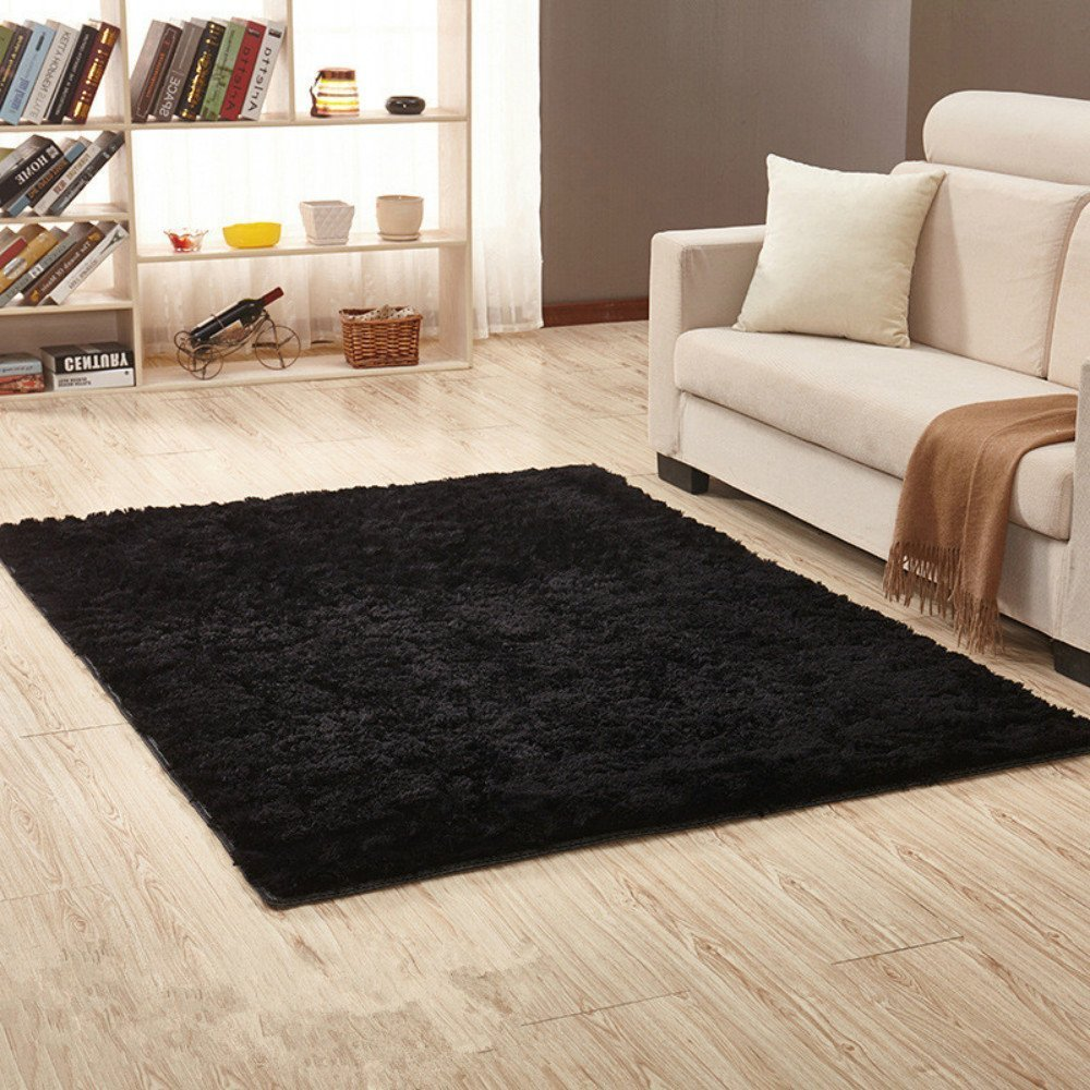 Sytian 4 Feet X 5 Feet Super Soft 4.5cm Thick Indoor Morden Shaggy Area Rugs Pads Non Slip Absorbent Bedroom Living Room Sitting-room Mat Rug Carpet Fashion Home Decorate Rug (Black)