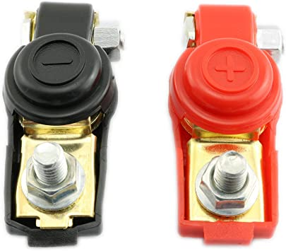Quick Battery Connectors Terminal With Caps Top Posts Pair 12V Terminals Clamps
