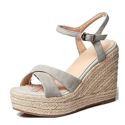 0bd312cac3a Amazon.com  Sandals Summer Gray Wedge Most Popular Womens Platform ...