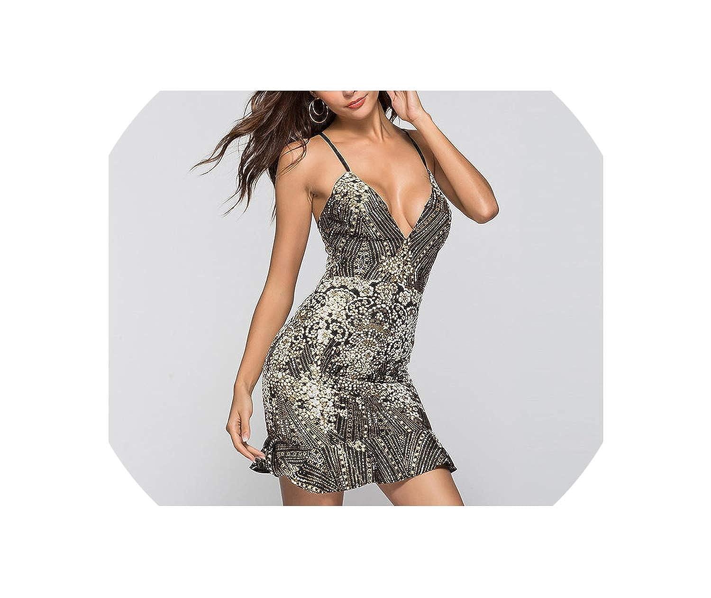 Black Sexy Deep VNeck Slim Dress Gilded Hem Ruffled Dress Club Strap Empire Female Party Dress M9062
