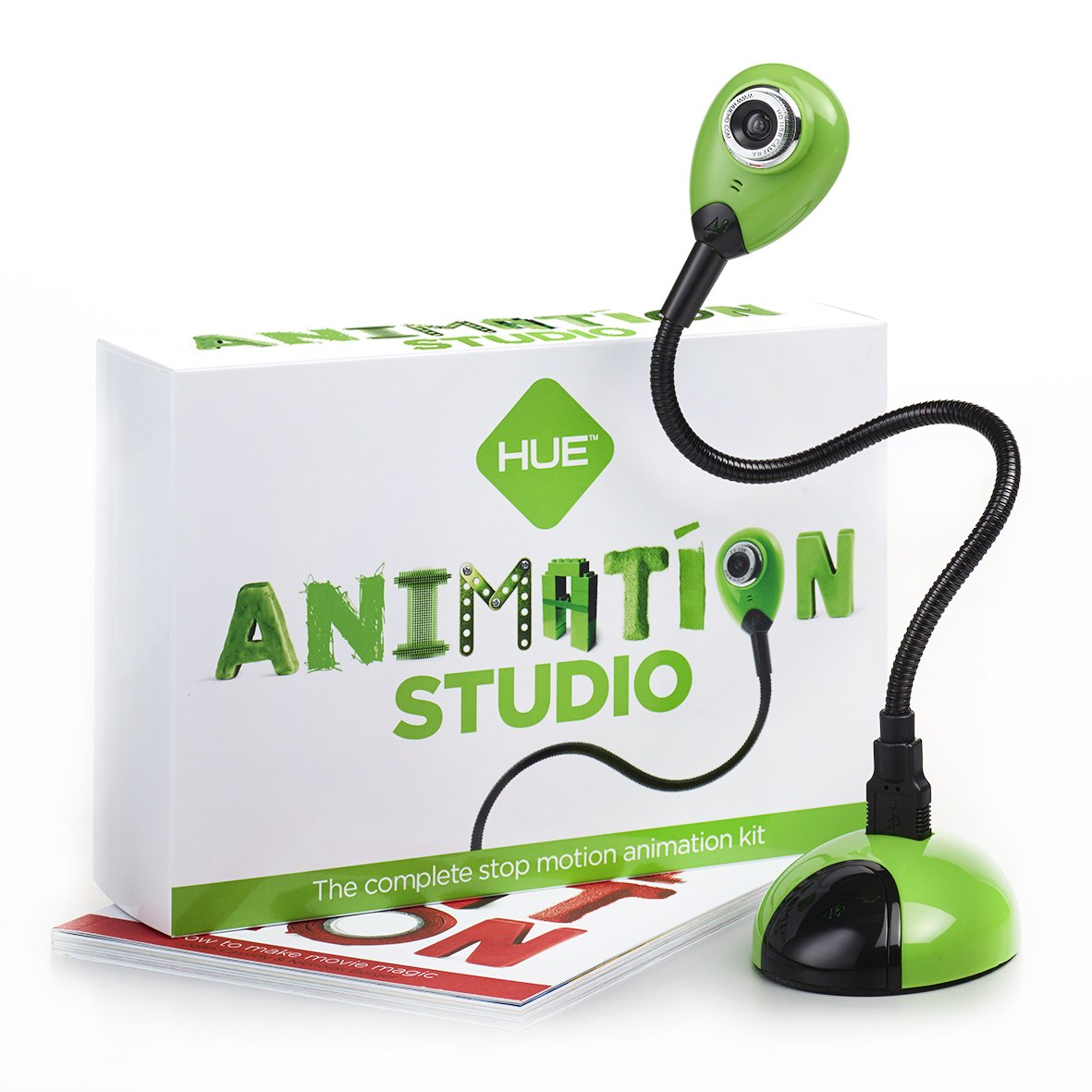HUE Estudio de Animació n (Verde) para PCs Windows y Apple Mac: incluye cá mara, software y libro en INGLÉ S software y libro en INGLÉS AS0003