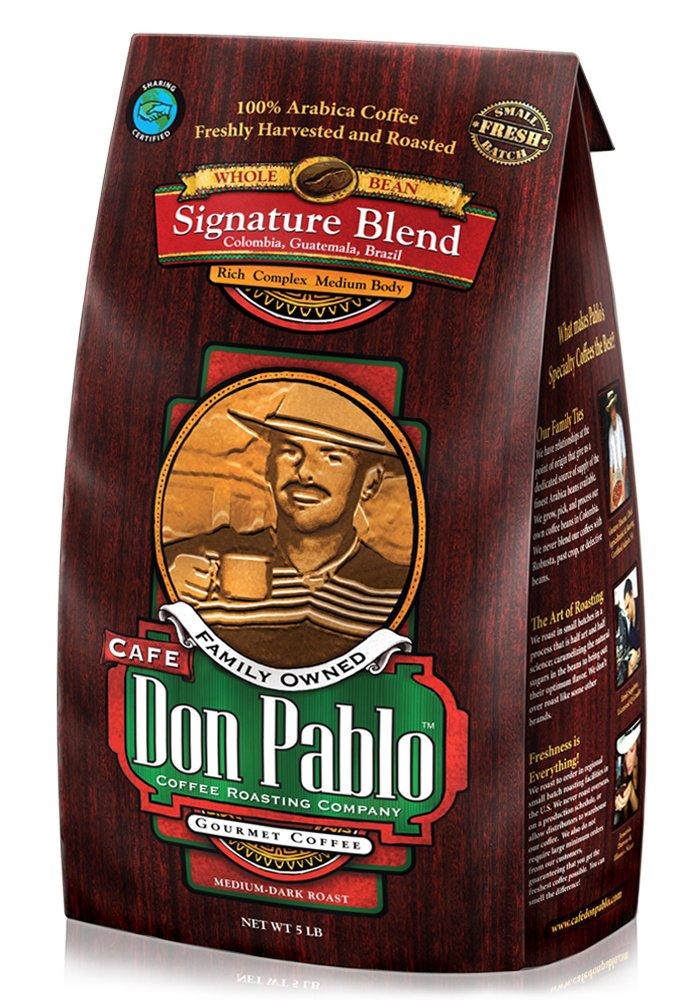 5LB Cafe Don Pablo Gourmet Coffee Signature Blend - Medium-Dark Roast Coffee - Whole Bean Coffee - 5 Pound ( 5 lb ) Bag