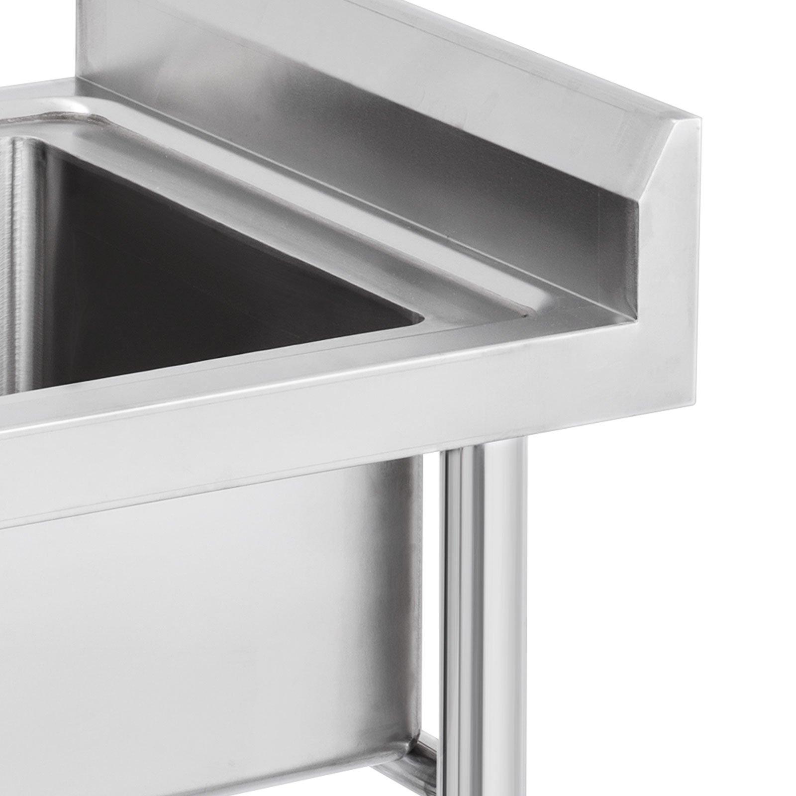 "Mophorn 2 Compartment Stainless Steel Bar Sink 15.5"" x 16.5""Bowl Size Handmade Underbar Sink for bar, kitchen restaurant by Mophorn (Image #6)"