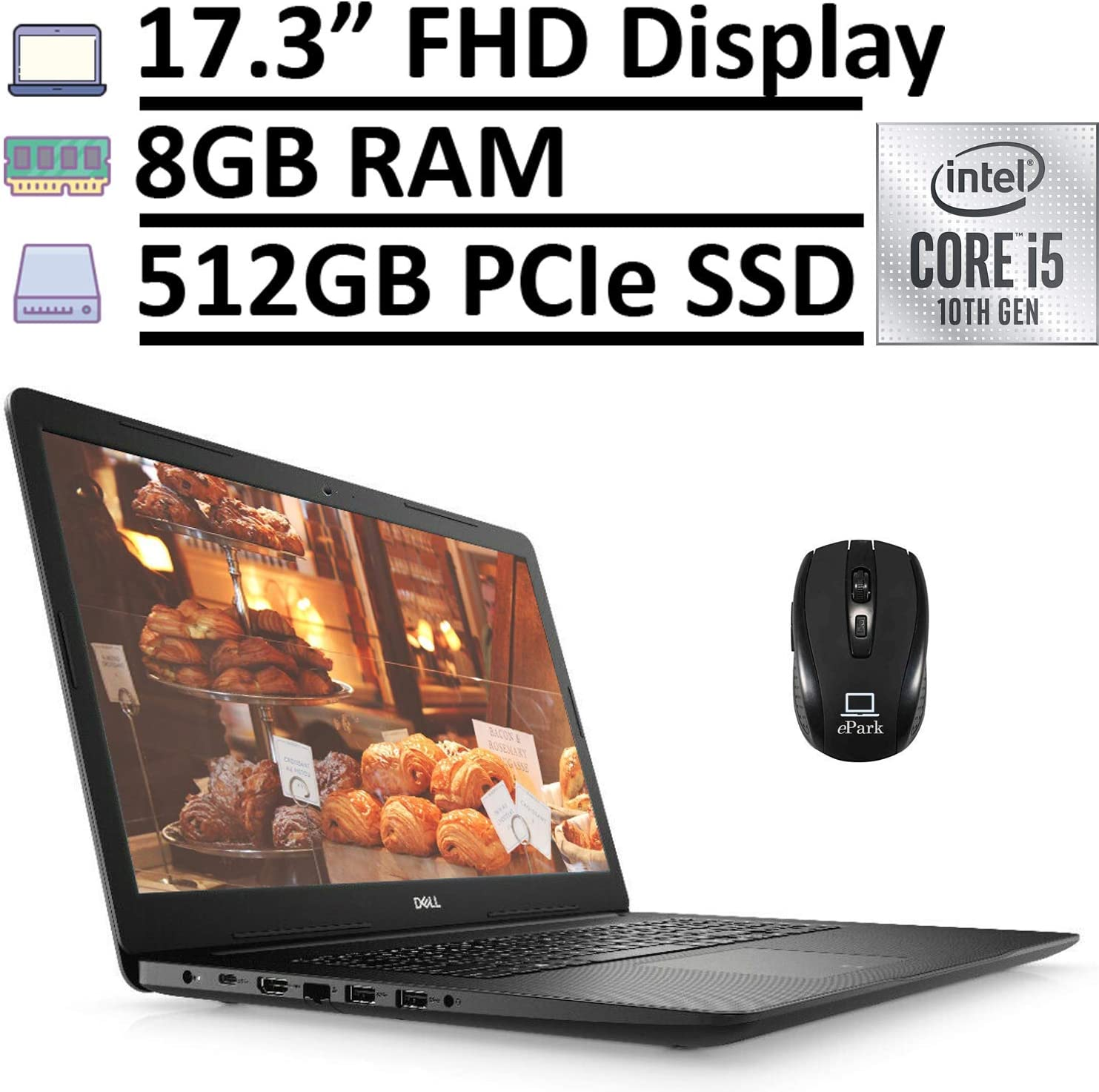 """2020 Newest Dell Inspiron 17 3000 3793 Laptop Computer, 17.3"""" FHD 1080p Anti-Glare Display, 10th Gen Intel Core i5-1035G1 8GB RAM 512GB PCIe SSD, Webcam Type-C Win 10 + ePark Wireless Mouse"""