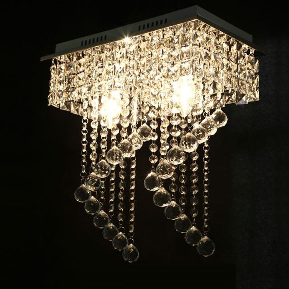 Surpars House Flush Mount 2-Light Crystal Chandelier, Length:15'' Width:7.87'' Height:15.3'',Silver