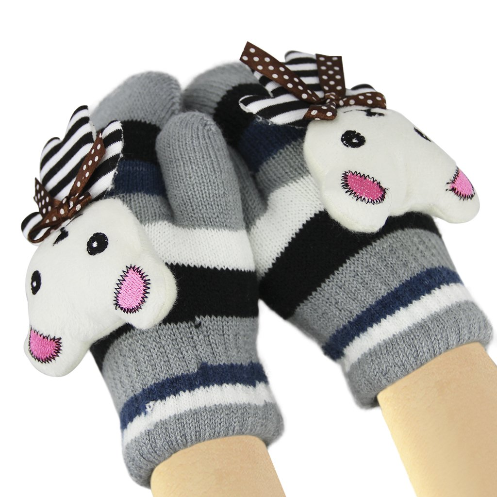 Kids Winter Warm Thicken Knitted Gloves Cute Cartoon Rabbit Soft Fleece Lining Wool Knit Outdoor Cycling Ski Neck Hanging Gloves Mittens Warmer for Girls Boys Grey