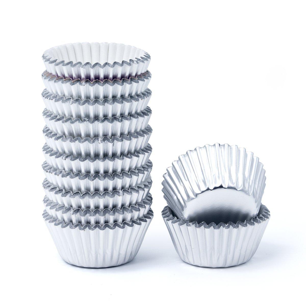 Mkustar 300 Count Foil Metallic Cupcake Liners Mini Baking Paper Cups Silver Mkustar-023