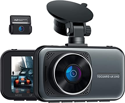 Amazon Com Toguard 4k Dual Dash Cam For Cars Uhd 2160p 1080p Front And Rear Dash Camera 3 Display Car Dashboard Camera Capacitor Drive Recorder W Hardwire Kit 24h 7 Parking Mode G Sensor Support 256gb Sd