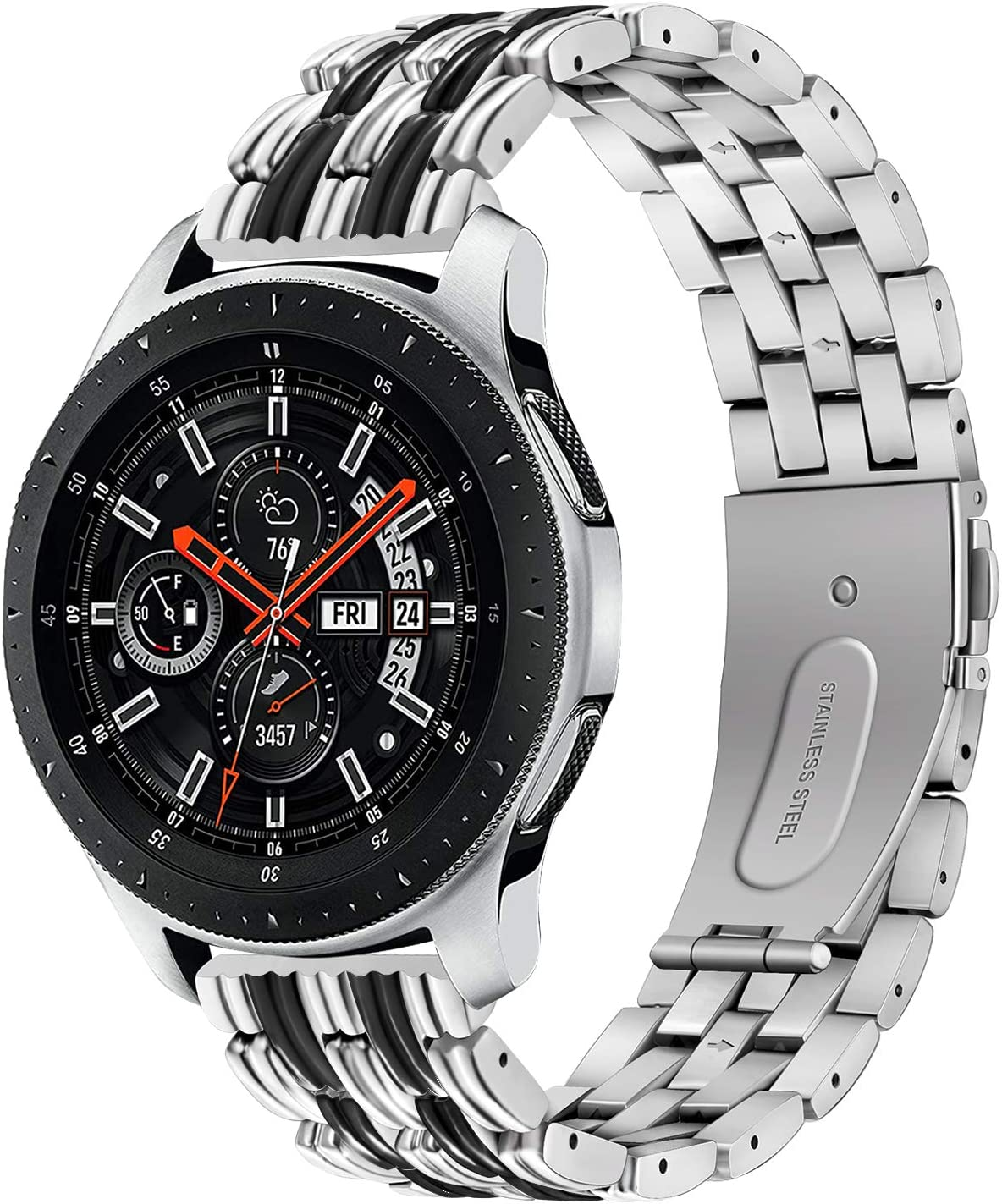 Galaxy Watch Silver 46mm Metal Strap Band forging Curved Link Bracelet Metal Band