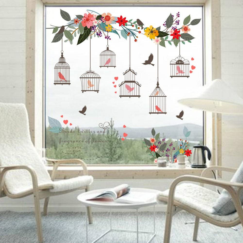 BIBITIME Colorful Flower Vines 6 Birdcages with Birds Wall Decal English Letter Quotes for Living Room Porch Office Window Sticker Kids Room Decor Art Mural DIY