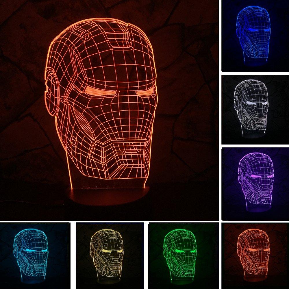 cacly新しいMarvel Avengersランプ3dアートアイアンマンマスク夜ライトスーパーヒーローIllusion Mood Lampe for Kids Friends Dadクリエイティブおもちゃギフト B07CXFHDJT 15017
