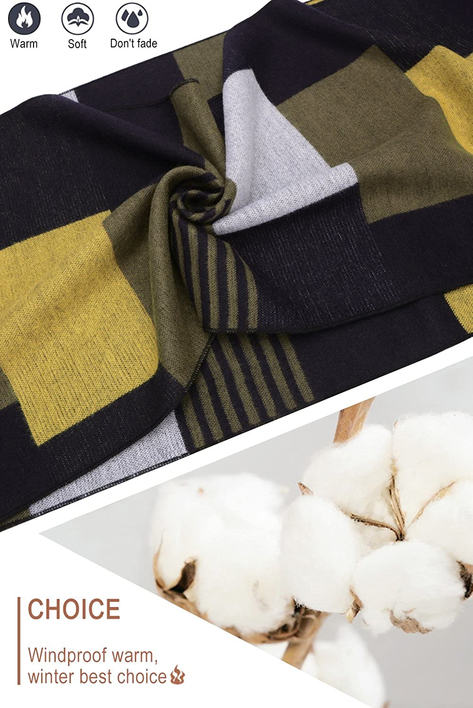 SNUG STAR Mens Oversize Check Scarf Long Warm Lightweight Winter Scarf