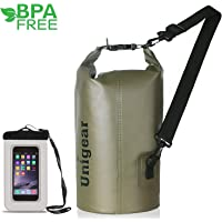 Unigear 2L/5L/10L/20L/30L/40L 600D Dry Bag Sack with Waterproof Phone Case and Long Adjustable Shoulder Strap for Boating, Kayaking, Fishing, Rafting, Swimming, Camping and Snowboarding