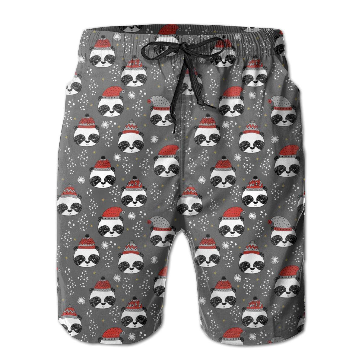 FASUWAVE Mens Swim Trunks Merry Christmas Panda Quick Dry Beach Board Shorts with Mesh Lining