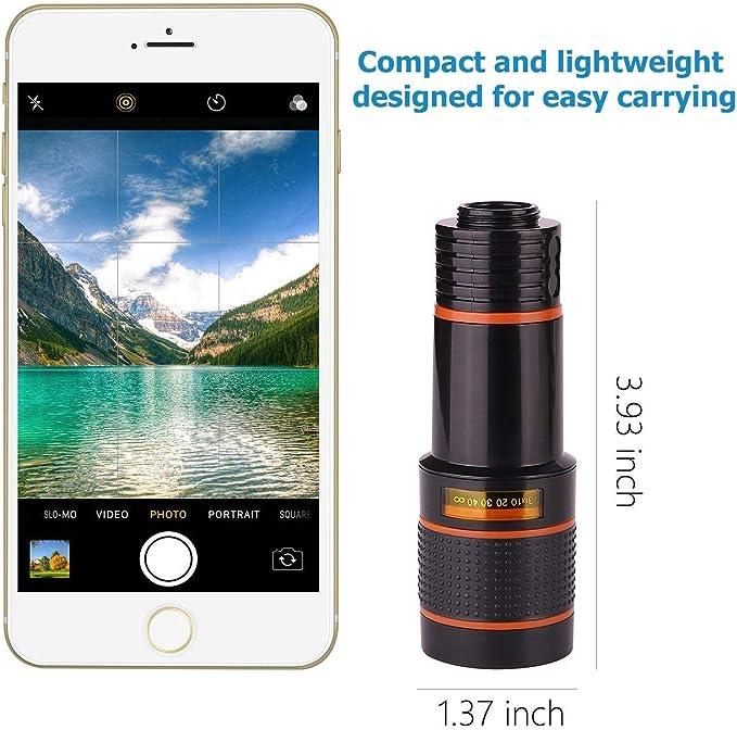 Samsung Galaxy Huawei y la mayor/ía de Smartphones Android Compatible con iPhone telescopio monocular con Clip Universal 12 x LACAB Lente de c/ámara para tel/éfono Celular