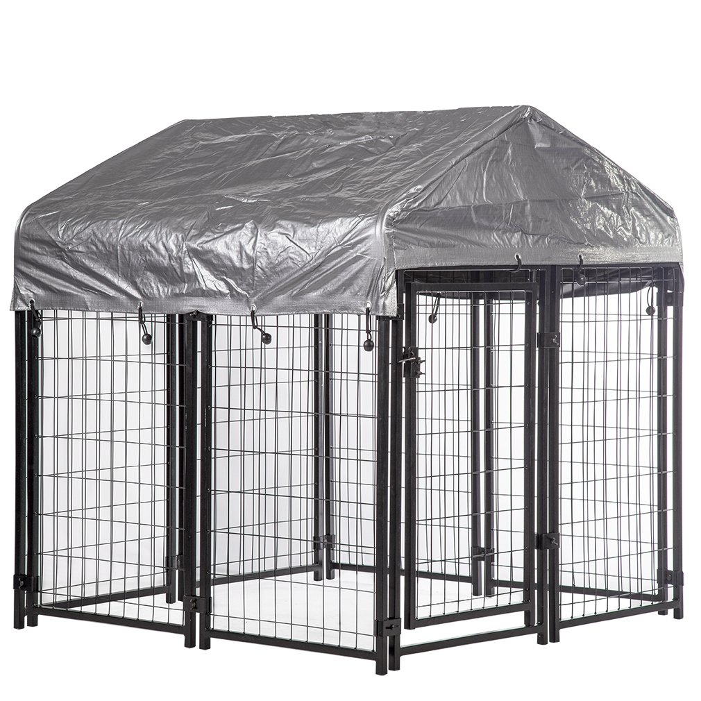4'x4'x4.4' OutDoor Heavy Duty Playpen Welded Dog Kennel w/Water-Resistant Cover by PayLessHere