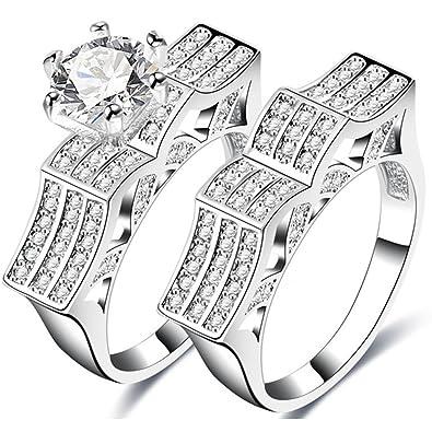 c20e3aa9125da Amazon.com: TEMEGO White Gold Designer Engagement Rings Matching ...