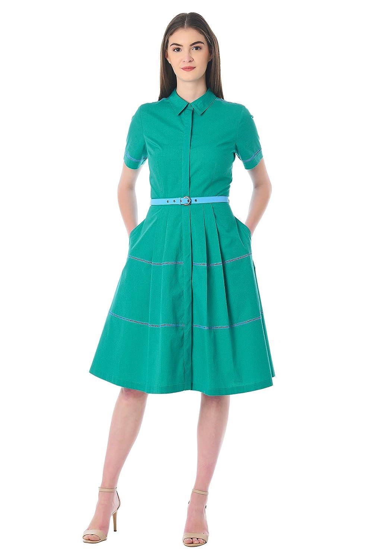 1950s Dresses, 50s Dresses | Swing, Wiggle, Pin Up Dresses eShakti Womens Cotton Poplin Lattice Trim Belted shirtdress $54.95 AT vintagedancer.com