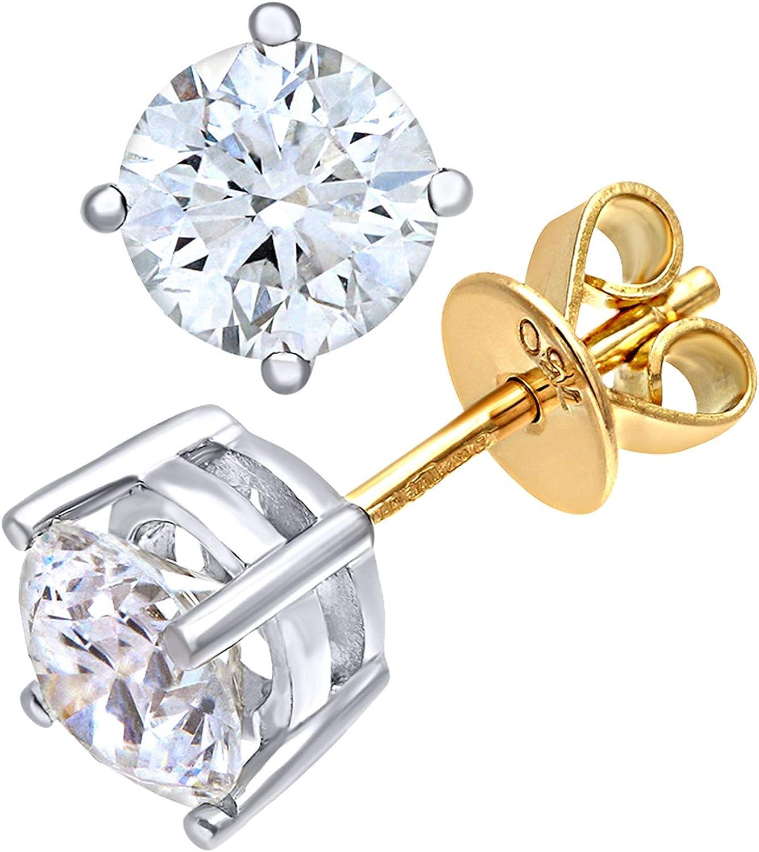 Naava Pendientes para Mujer de Oro con Diamante