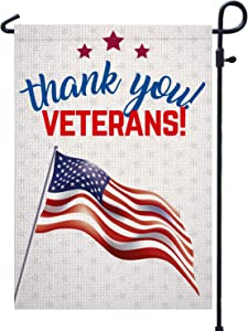 "PAMBO Thank You Veterans Garden Flag | Vertical Double Sided Outdoor & Yard Flag for Patriotic Flag,11th November Veterans Day Decoration 12.5"" x 18"""
