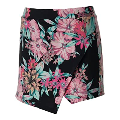 About A Girl Juniors Skorts, Black/Poppy Print