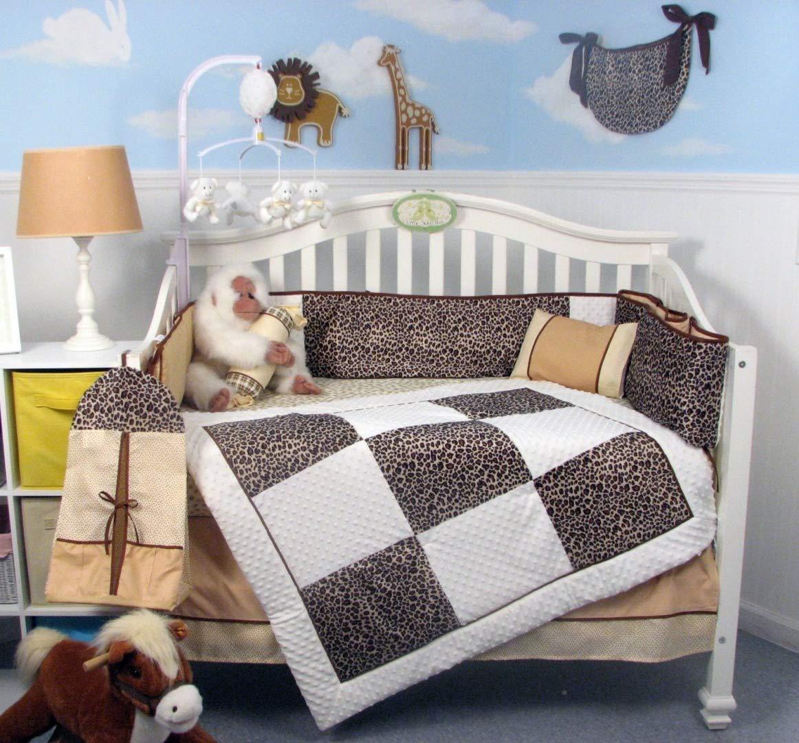 Soho White Chenille & Giraffe Minky Baby Crib Nursery Bedding Set 14 Pcs Included Diaper Bag with Changing Pad & Bottle Case by SoHo Designs   B00FH4EBK4