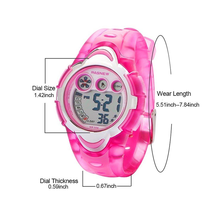 LED impermeable de los deportes reloj Digital para niños niñas niños (rosa): Amazon.es: Relojes