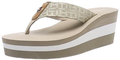 3ff67a1a5085 Tommy Hilfiger Metallic Mid Beach Sandal Womens Wedges Beige - 40 EU