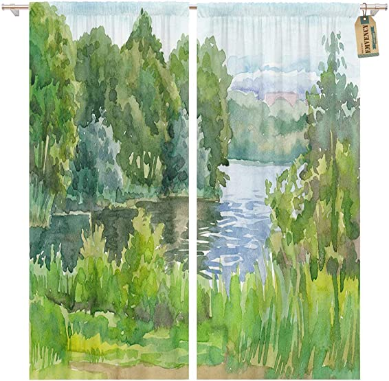 Golee Window Curtain Landscape Watercolor Painting Forest Lake Beautiful Calm Environment Nature Home Decor Pocket Drapes 2 Panels Curtain 104 x 96 inche
