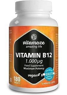 Vitamina B12 metilcobalamina 1.000 mcg, 180 comprimidos veganos, suficientes…
