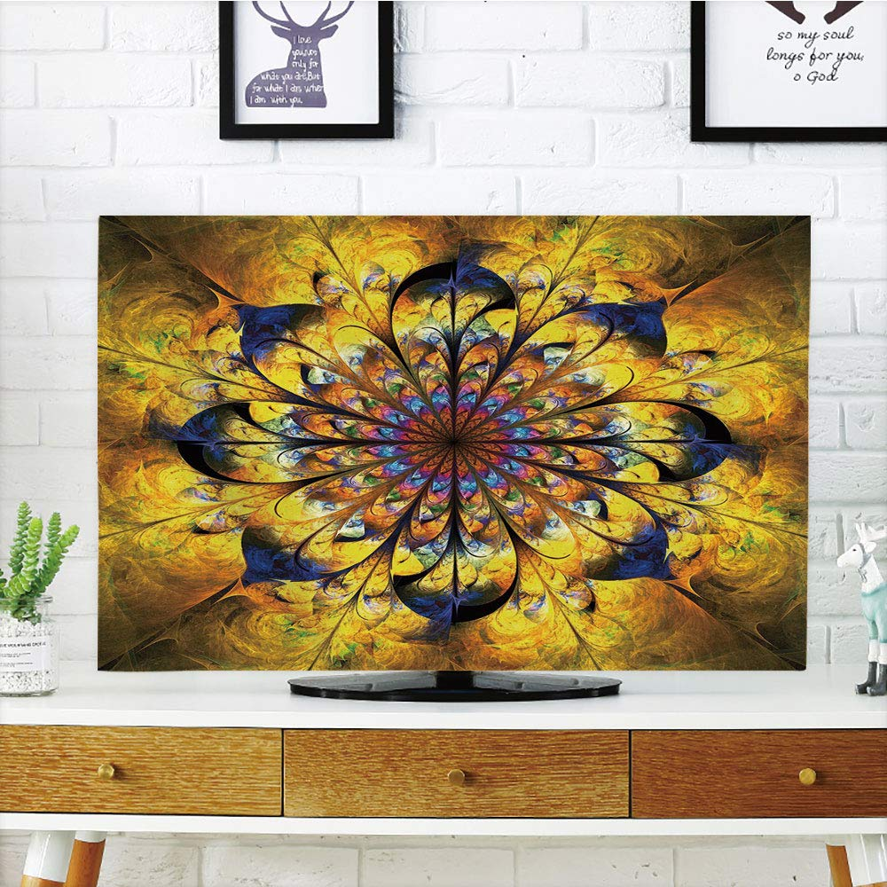 iPrint LCD TV dust Cover Strong Durability,Yellow and Blue,Mandala with Golden Floral Ornamental Psychedelic Fantasy Rays Asian Pattern,Navy Gold,Picture Print Design Compatible 42'' TV
