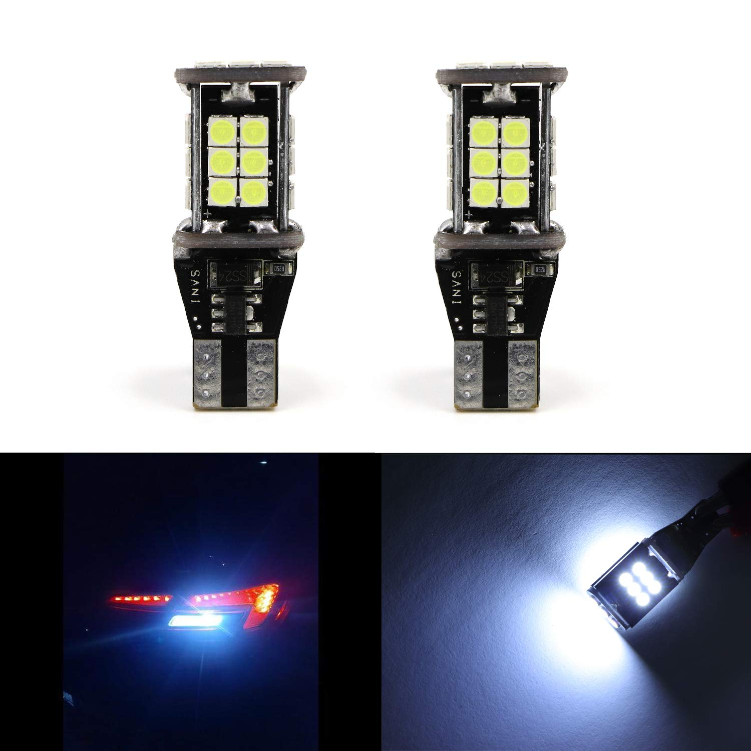 7740 7441 7443 7444 Extremely Bright White-6000K Light 5630 w/33 SMD LED T20 Bulbs for Back up/Reverse Light, Side Marker Light, Tail Brake Lamps (Pack of 2) Youxmoto